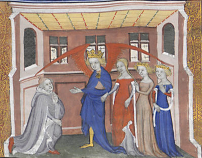 BnF, ms. fr. 9221. Prologue, Love leads his children to Machaut, who kneels before him (fol. 1, E1, det.)